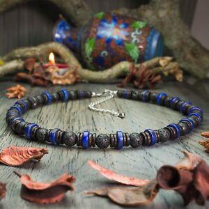 Bijoux Homme Collier Pierre Naturelle Lapis Lazuli Lave Volcanique Bois Cocotier