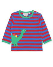 Toby Tiger Organic Cotton Boys Dino Applique Top | 2 3 4 5 6 Years