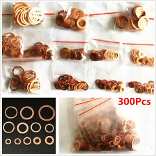 300pcs 12Size Assorted Solid Copper Crush Washers Seal Sealing Flat Ring Gaskets