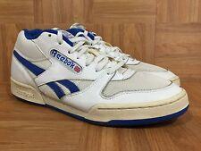 VTG�� Reebok Classic BB Basketball Mid Low White Leather Royal Blue Flower 11.5