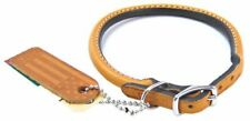 "LM Circle T Leather Round Collar - Tan 14"" Neck"
