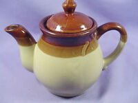 Stoneware Teapot Tricolor Striped 3 Tone Glazed Beige Brown 24 oz 3 Cup Vintage