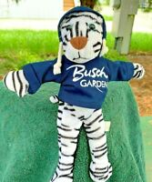 "Vintage Toy Factory Busch Gardens White Tiger 10"" Plush Stuffed Animal Doll"