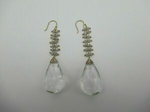 Anthropologie Baltic Drop Crystal & Glass Beads Hook Earrings 2.5 Inches