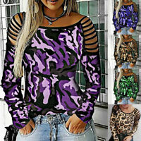 Ladies Women Hollow Out Camouflage T Shirt Long Sleeve Blouse Loose Casual Tops