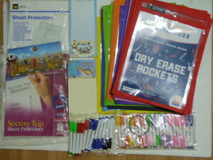 NEW* 35 DRY Erase pockets + PENS+ FREE Sheet protectors+ 2x pads/ OVER 70 items
