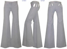 New RUNWAY Chloe Phoebe Philo Wide Leg Elephant Bell Jeans Pants Cut-Outs 2 TALL