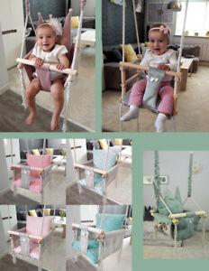 Babyschaukel Kinderschaukel Holz Stoff Schaukel 3 in 1 für drinnen und draußen