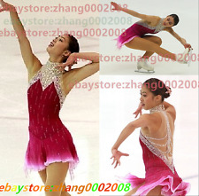 Ice skating dress.Pinkish red Competition Figure Skating /Baton Twirling Costume