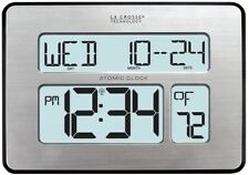 Modern Digital Clock Extra Large Digit Adjustable Backlight Atomic Full Calendar