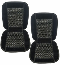 Set of 2 Therapeutic Natural Real Wooden Bead Massage Seat Cushions - Black