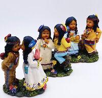 "Vtg K's Collection Native American Costumed Resin Child Figurines 4""H Set Of 3"