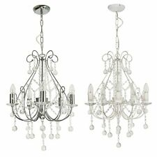 Crystal Chandelier in White with Silver Brush Strokes or Polished Chrome