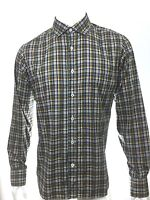 ROBERT TALBOTT $198 BROWN GREEN 100% COTTON MEN'S CASUAL PLAID CHECK SHIRT SZ L