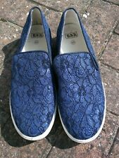 Ash Slip On Navy Lace Canvas Illusion Trainers Shoes Size 40