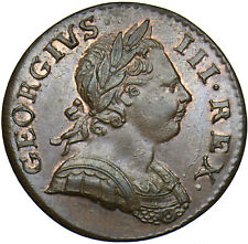 More details for 1771 halfpenny - george iii british copper coin - superb