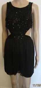NWT BLACK SEQUIN CUT OUT PARTY DRESS SIZE 12