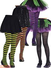 Girls Black Spider Web Striped Tights Halloween Fancy Dress Costume Accessory
