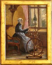 Tableau 1897 sur panneau acajou fileuse Rouet Ferrey Julien