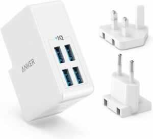 Anker 4-Port USB Wall Charger UK& EU Travel Plug Adapter for iPhone XS Galaxy S8