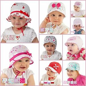 New! Beautiful Baby Girl Hat / Cap Perfect For Summer, Cotton 0mth - 36mths