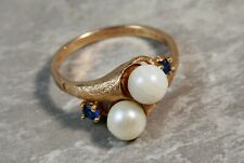 1910 Antique 10K Rose Gold Double Stacked Pearl Sapphire Ring