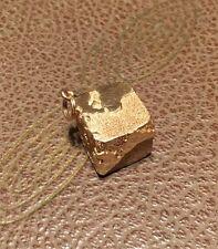 Vintage Rare Dankner 14K Yellow Gold Solid Square Flat Cube Globe Charm Pendant