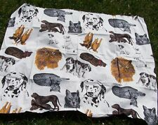 Cat Dog Cotton Fabric Realistic 1yd White Dalmatian Terrier Beagle Hound Persian