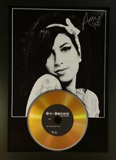 AMY WINEHOUSE SIGNED PHOTO AND GOLD DISC DISPLAY