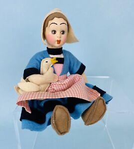 "Cute 8"" Felt Made in Italy Doll Dutch Girl Holding Goose $1.00 Opening Bid"