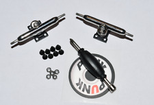 34MM Shaped Fingerboard Trucks -SILVER/BLACK- Single Axle+Lock Nuts+Free Grip!