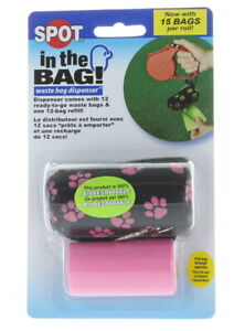 Spot In The Bag Dispenser Pink Canvas Pouch Cover 12 Bags Pet Waste Removal