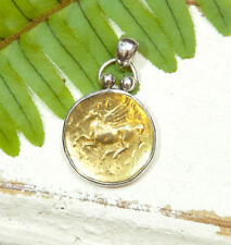 Gold Coin Pendant - 18K - Sterling Silver - Pegasus - Decorative Bail Design