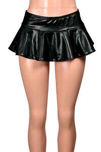Shiny Black Metallic Micro Mini Skirt XS S M L XL 2XL 3XL plus size costume sexy