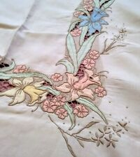 "Elaborate Madeira Floral Applique, Cutwork, Embroidered Linen Tablecloth 68""×49"""