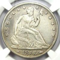 1855-O Arrows Seated Liberty Half Dollar 50C - NGC AU Details - Rare Date Coin