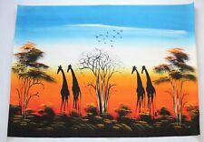 Bild mit vier Giraffen Leinwand 92x72 cm handgemalt Unikat aus Südafrika #1034