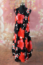 New Ladies Dress Red Black Plus Size Resort One Size Fits size  14 16 18 20
