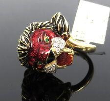 Yellow Gold Lion Ring Size 5 Unique Somenzi 0.30ct Diamond & Enamel 18K