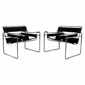 Mid Century Modern Pair of Black Leather Wassily Style Chrome Lounge Chairs 70s
