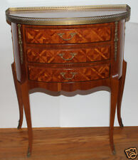 Demi Lune Console Commode Inlaid Parquetry Table 3 Drawers Half Moon Entry