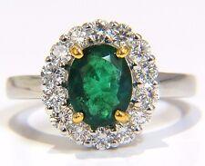 $7500 2.46CT NATURAL EMERALD DIAMONDS RING 18KT VIVID GREEN HALO A+