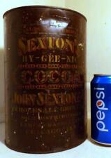 Large Antique 5-Lb SEXTON'S Country Store Cocoa Tin Litho Display Canister c1900