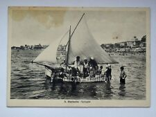 SANTA MARINELLA spiaggia animata barca vela Roma vecchia cartolina