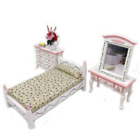 Mini bed with pillow dollhouse bedroom furniture for children pretend play toy