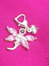 Pink Rhinestone Dragonfly Clip On Charm With Small Silver Colour Heart. Gift.