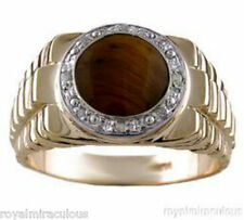 14K Yellow Gold Designer Style Mens Tiger's Eye and Diamond Ring