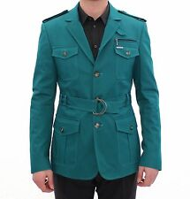 NWT $940 GF FERRE Turquoise Belted Slim Fit Stretch Jacket Coat EU48 / US38 / M