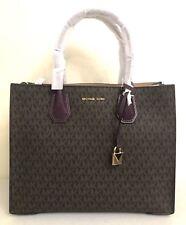 e99198e7f783 Michael Michael Kors Mercer Large Signature Brown Damson Convertible Tote  Bag