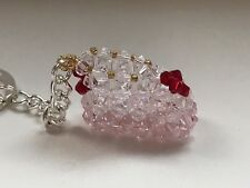 Baby bootee keyring - made with beads - pink